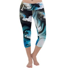 Abstract Painting Background Modern Capri Yoga Leggings