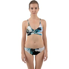 Abstract Painting Background Modern Wrap Around Bikini Set