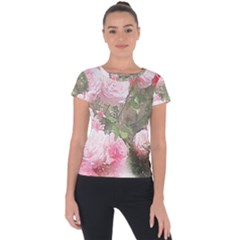 Flowers Roses Art Abstract Nature Short Sleeve Sports Top