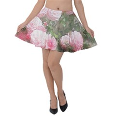 Flowers Roses Art Abstract Nature Velvet Skater Skirt