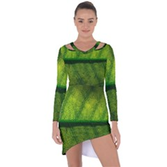 Leaf Nature Green The Leaves Asymmetric Cut Out Shift Dress