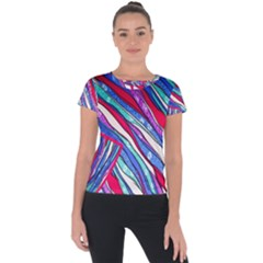 Texture Pattern Fabric Natural Short Sleeve Sports Top