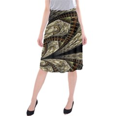 Fractal Abstract Pattern Spiritual Midi Beach Skirt