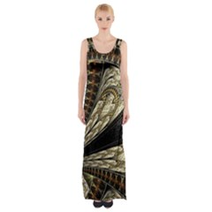 Fractal Abstract Pattern Spiritual Maxi Thigh Split Dress