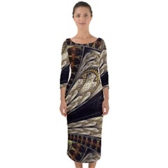 Fractal Abstract Pattern Spiritual Quarter Sleeve Midi Bodycon Dress