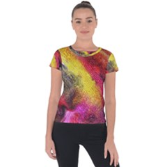 Background Art Abstract Watercolor Short Sleeve Sports Top