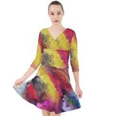 Background Art Abstract Watercolor Quarter Sleeve Front Wrap Dress