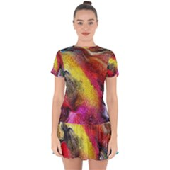 Background Art Abstract Watercolor Drop Hem Mini Chiffon Dress