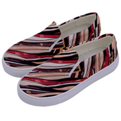 Fabric Texture Color Pattern Kids  Canvas Slip Ons by Nexatart