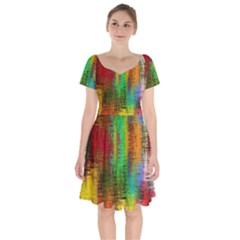 Color Abstract Background Textures Short Sleeve Bardot Dress