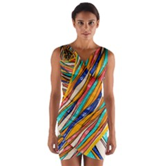 Fabric Texture Color Pattern Wrap Front Bodycon Dress by Nexatart