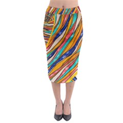 Fabric Texture Color Pattern Midi Pencil Skirt