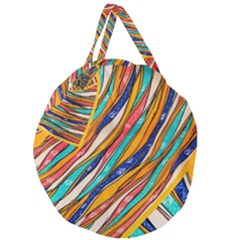 Fabric Texture Color Pattern Giant Round Zipper Tote