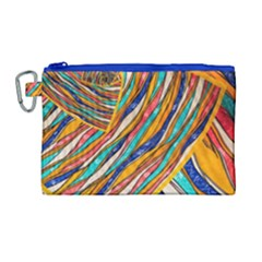 Fabric Texture Color Pattern Canvas Cosmetic Bag (large)