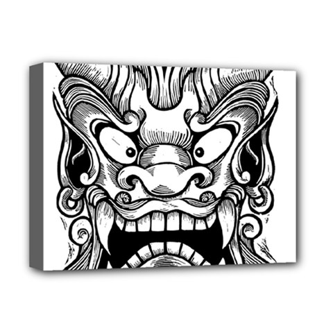 Japanese Onigawara Mask Devil Ghost Face Deluxe Canvas 16  X 12   by Alisyart