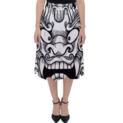 Japanese Onigawara Mask Devil Ghost Face Folding Skater Skirt by Alisyart