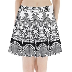 Japanese Onigawara Mask Devil Ghost Face Pleated Mini Skirt by Alisyart