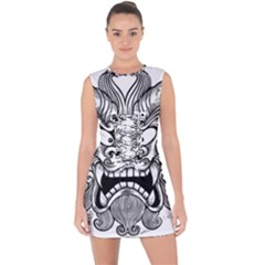 Japanese Onigawara Mask Devil Ghost Face Lace Up Front Bodycon Dress