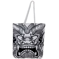 Japanese Onigawara Mask Devil Ghost Face Full Print Rope Handle Tote (large) by Alisyart