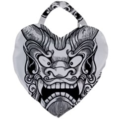 Japanese Onigawara Mask Devil Ghost Face Giant Heart Shaped Tote by Alisyart