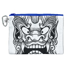 Japanese Onigawara Mask Devil Ghost Face Canvas Cosmetic Bag (xl)