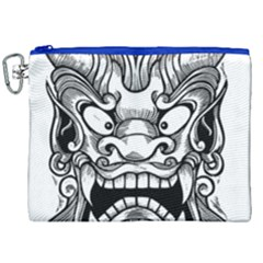 Japanese Onigawara Mask Devil Ghost Face Canvas Cosmetic Bag (xxl)