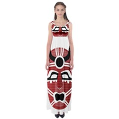 Africa Mask Face Hunter Jungle Devil Empire Waist Maxi Dress