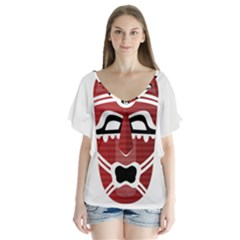 Africa Mask Face Hunter Jungle Devil V Neck Flutter Sleeve Top