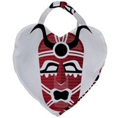 Africa Mask Face Hunter Jungle Devil Giant Heart Shaped Tote by Alisyart