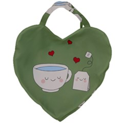 Cute Tea Giant Heart Shaped Tote by Valentinaart