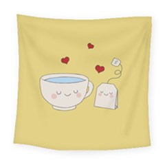 Cute Tea Square Tapestry (large) by Valentinaart