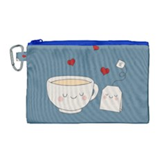 Cute Tea Canvas Cosmetic Bag (large) by Valentinaart