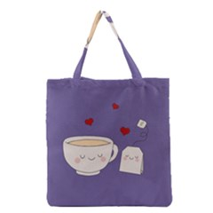 Cute Tea Grocery Tote Bag by Valentinaart