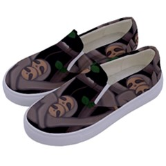 Cute Sloth Kids  Canvas Slip Ons by Valentinaart