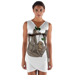 Cute Sloth Wrap Front Bodycon Dress by Valentinaart