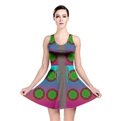 Meditative Abstract Temple Of Love And Meditation Reversible Skater Dress
