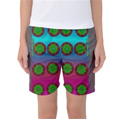 Meditative Abstract Temple Of Love And Meditation Women s Basketball Shorts