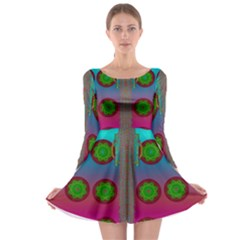Meditative Abstract Temple Of Love And Meditation Long Sleeve Skater Dress