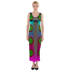 Meditative Abstract Temple Of Love And Meditation Fitted Maxi Dress by pepitasart