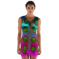 Meditative Abstract Temple Of Love And Meditation Wrap Front Bodycon Dress