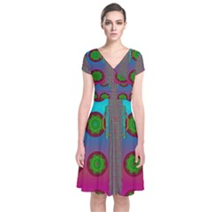 Meditative Abstract Temple Of Love And Meditation Short Sleeve Front Wrap Dress