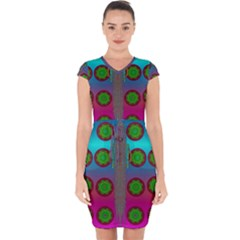 Meditative Abstract Temple Of Love And Meditation Capsleeve Drawstring Dress