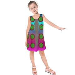 Meditative Abstract Temple Of Love And Meditation Kids  Sleeveless Dress