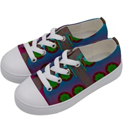 Meditative Abstract Temple Of Love And Meditation Kids  Low Top Canvas Sneakers by pepitasart