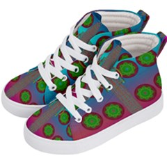 Meditative Abstract Temple Of Love And Meditation Kid s Hi Top Skate Sneakers by pepitasart