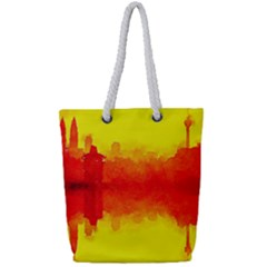 Sun Rise,city,modern Art Full Print Rope Handle Tote (small)