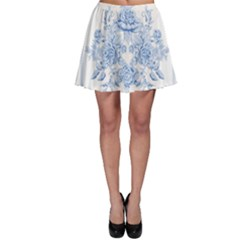 Beautiful,pale Blue,floral,shabby Chic,pattern Skater Skirt by 8fugoso