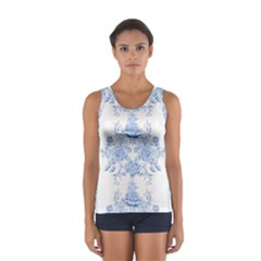 Beautiful,pale Blue,floral,shabby Chic,pattern Sport Tank Top  by 8fugoso