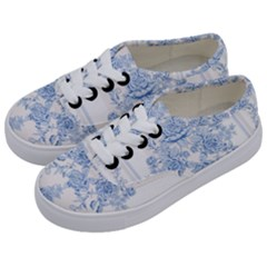 Beautiful,pale Blue,floral,shabby Chic,pattern Kids  Classic Low Top Sneakers by 8fugoso