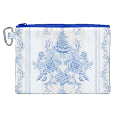 Beautiful,pale Blue,floral,shabby Chic,pattern Canvas Cosmetic Bag (xl) by 8fugoso